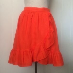 Orange Linen Ruffle Wrap Skirt